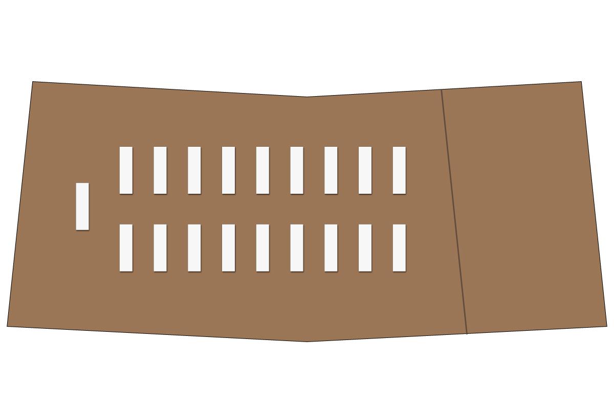 テーブルレイアウト例(学式2列×9列)