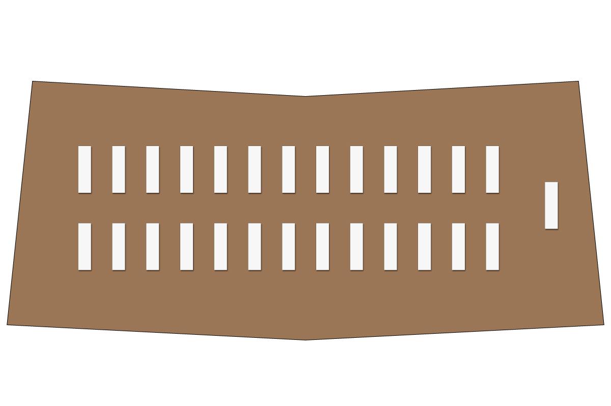 テーブルレイアウト例(学式2列×13列)