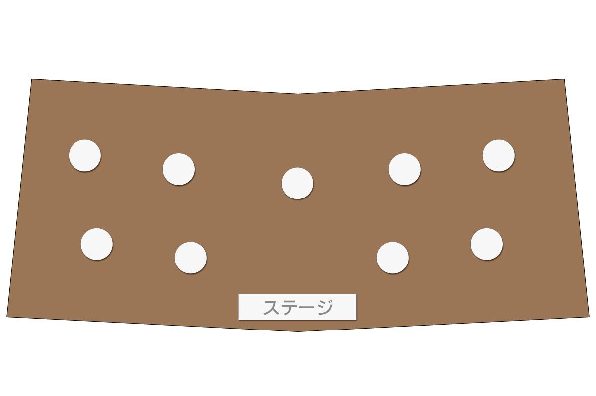 テーブルレイアウト例(円卓・テーブル×9)