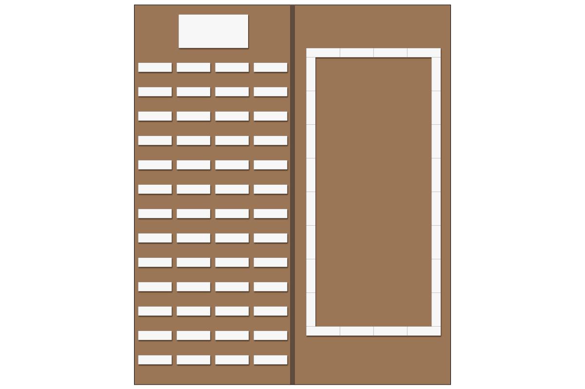 テーブルレイアウト例(学式4列×13列)(ロの字・テーブル×24)